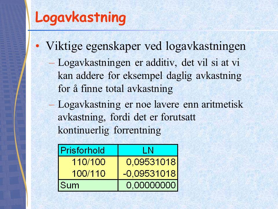 Logavkastning •Viktige egenskaper ved logavkastningen –Logavkastningen er additiv, det vil si at vi kan addere for eksempel daglig avkastning for å finne total avkastning –Logavkastning er noe lavere enn aritmetisk avkastning, fordi det er forutsatt kontinuerlig forrentning