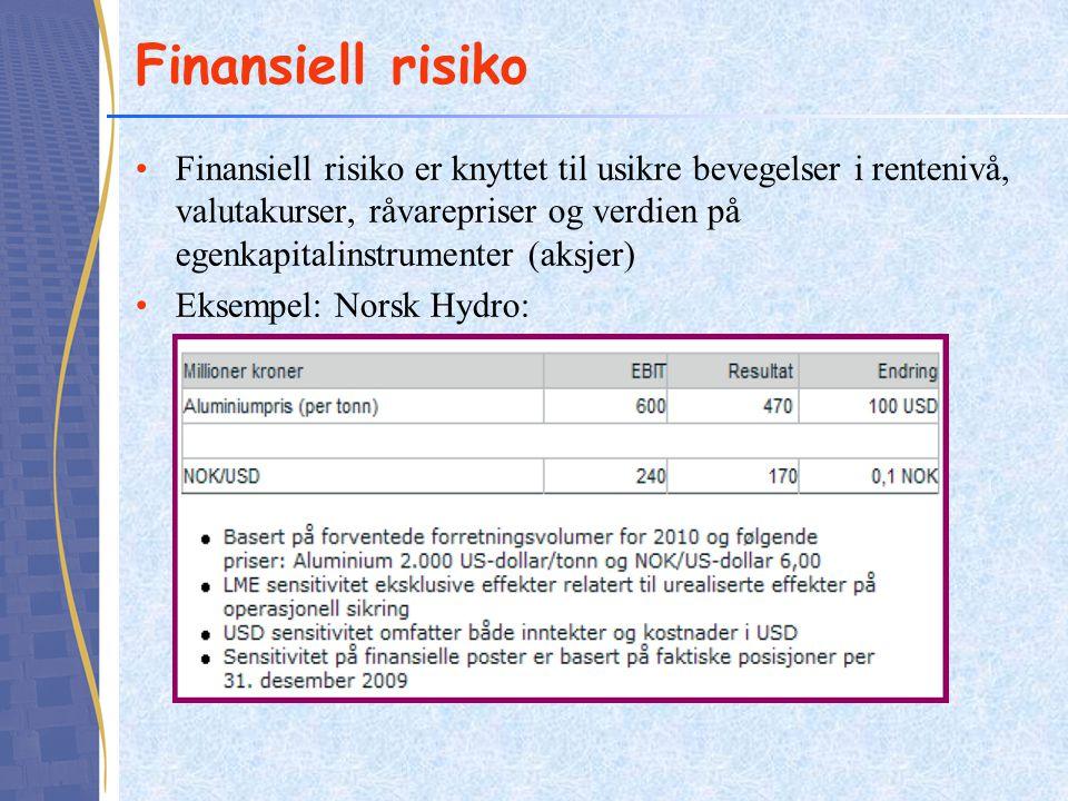 Finansiell risiko •Finansiell risiko er knyttet til usikre bevegelser i rentenivå, valutakurser, råvarepriser og verdien på egenkapitalinstrumenter (aksjer) •Eksempel: Norsk Hydro: