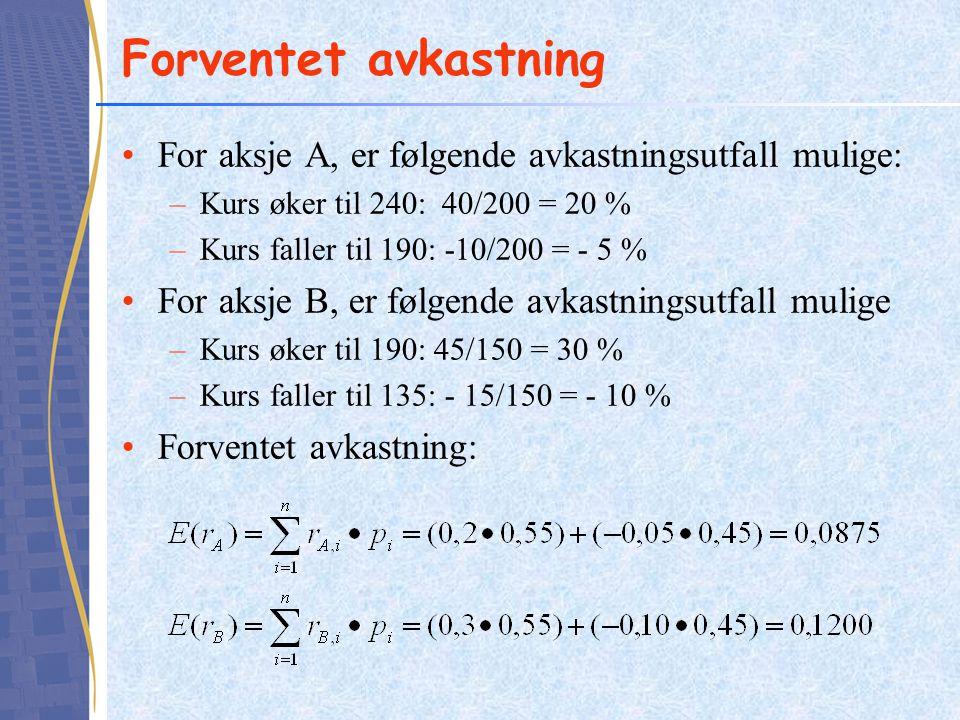 Sammenheng mellom enkeltaksjer •Sammenhengen mellom avkastningen til enkeltaksjer kan beskrives ved hjelp av de statistiske målene kovarians og korrelasjonskoeffisient •Korrelasjonskoeffisienten er normalisert og kan anta verdier mellom – 1 og + 1 •– 1 er perfekt negativ lineær korrelasjon •0 angir at det ikke er samvariasjon eller korrelasjon mellom to størrelser •+ 1 er perfekt positiv lineær korrelasjon •Korrelasjonskoeffisienten mellom aksjekurser er ofte rundt 0,5 – 0,7