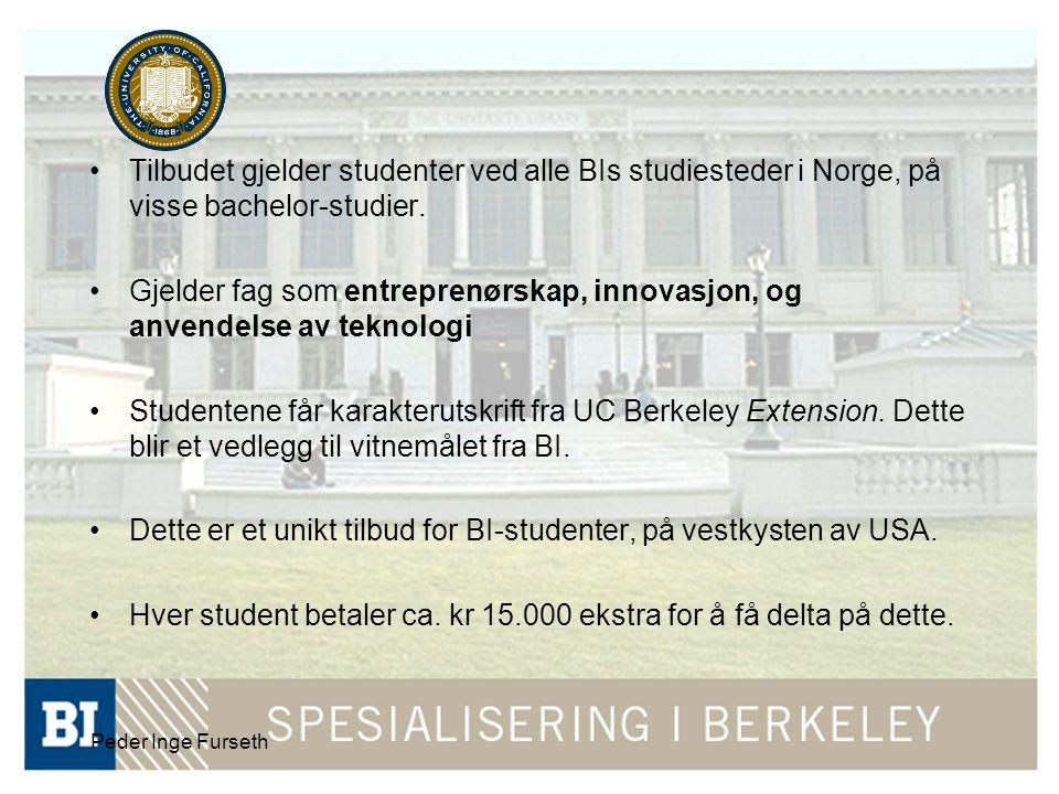 Peder Inge Furseth •Tilbudet gjelder studenter ved alle BIs studiesteder i Norge, på visse bachelor-studier.