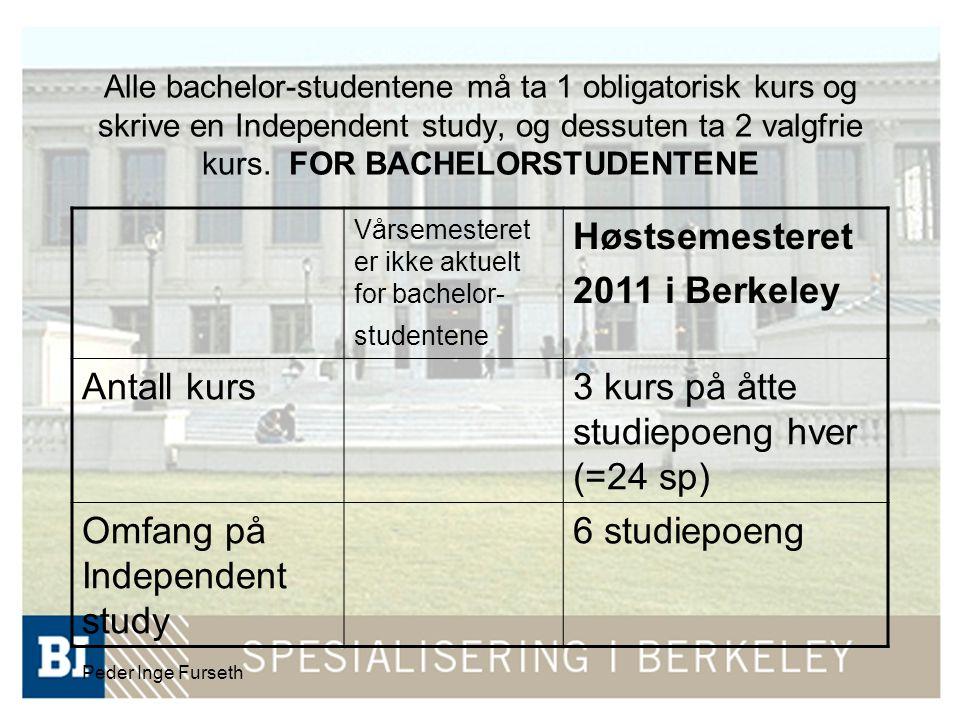 Peder Inge Furseth Alle bachelor-studentene må ta 1 obligatorisk kurs og skrive en Independent study, og dessuten ta 2 valgfrie kurs.