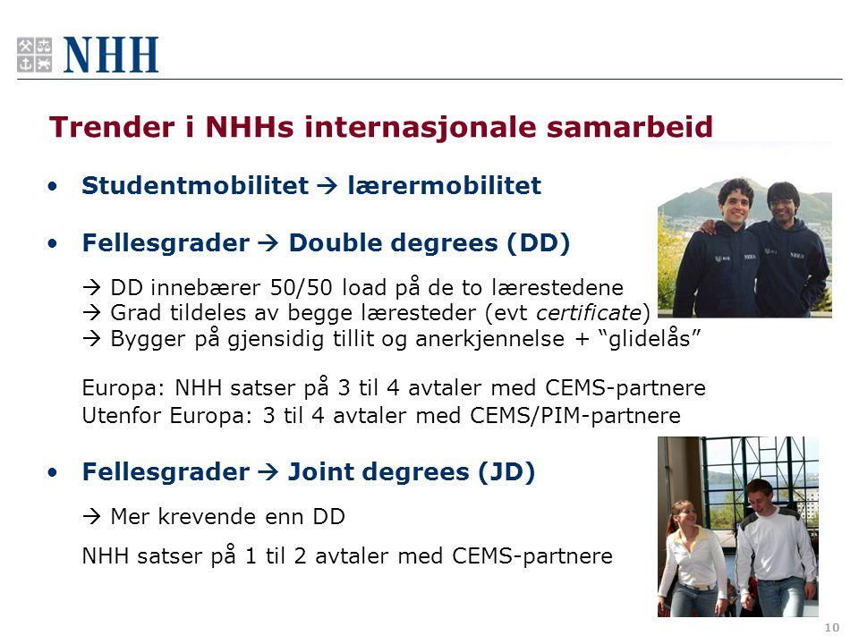 10 Trender i NHHs internasjonale samarbeid •Studentmobilitet  lærermobilitet •Fellesgrader  Double degrees (DD)  DD innebærer 50/50 load på de to l