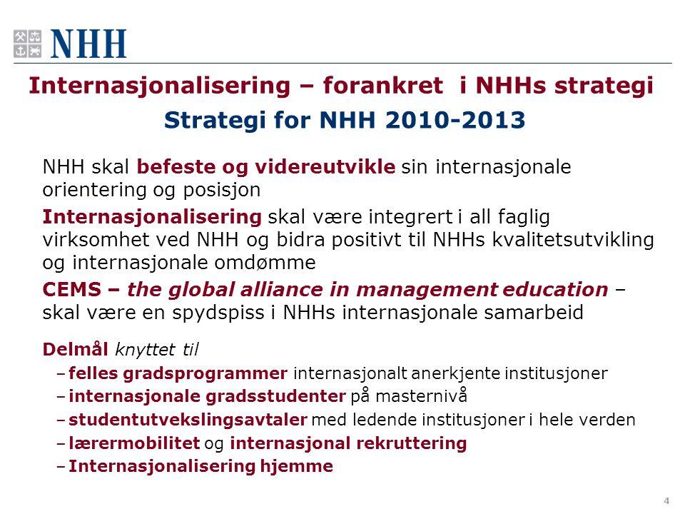 4 Internasjonalisering – forankret i NHHs strategi Strategi for NHH 2010-2013 NHH skal befeste og videreutvikle sin internasjonale orientering og posi