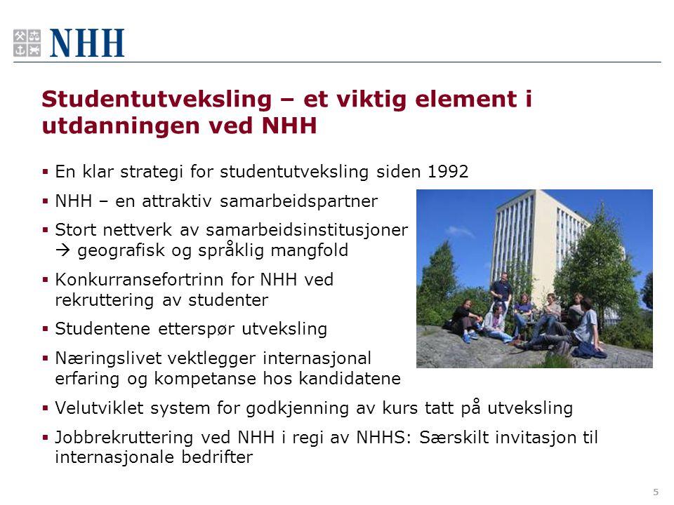 5 Studentutveksling – et viktig element i utdanningen ved NHH  En klar strategi for studentutveksling siden 1992  NHH – en attraktiv samarbeidspartn