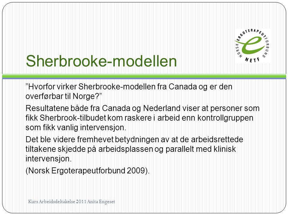 """Sherbrooke-modellen """"Hvorfor virker Sherbrooke-modellen fra Canada og er den overførbar til Norge?"""" Resultatene både fra Canada og Nederland viser at"""