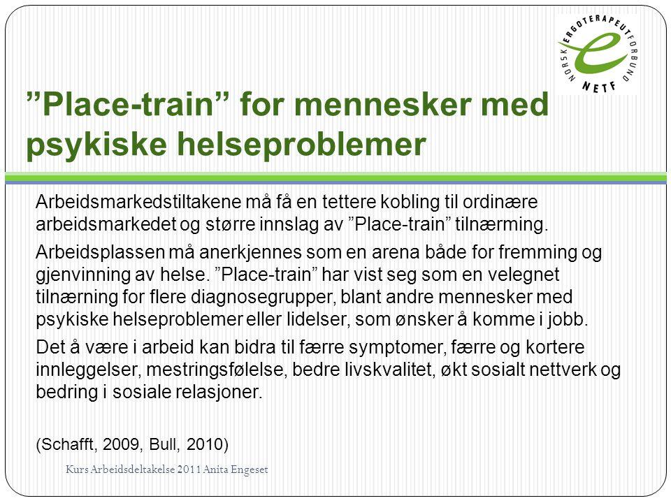 """""""Place-train"""" for mennesker med psykiske helseproblemer Arbeidsmarkedstiltakene må få en tettere kobling til ordinære arbeidsmarkedet og større innsla"""