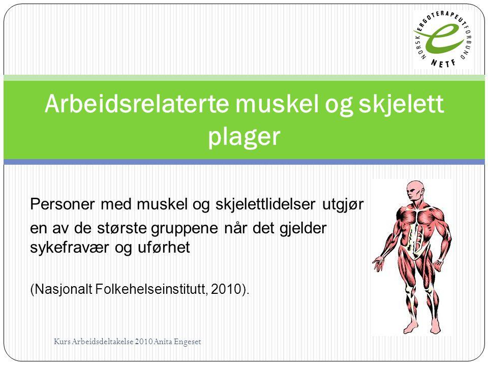 Personer med muskel og skjelettlidelser utgjør en av de største gruppene når det gjelder sykefravær og uførhet (Nasjonalt Folkehelseinstitutt, 2010).