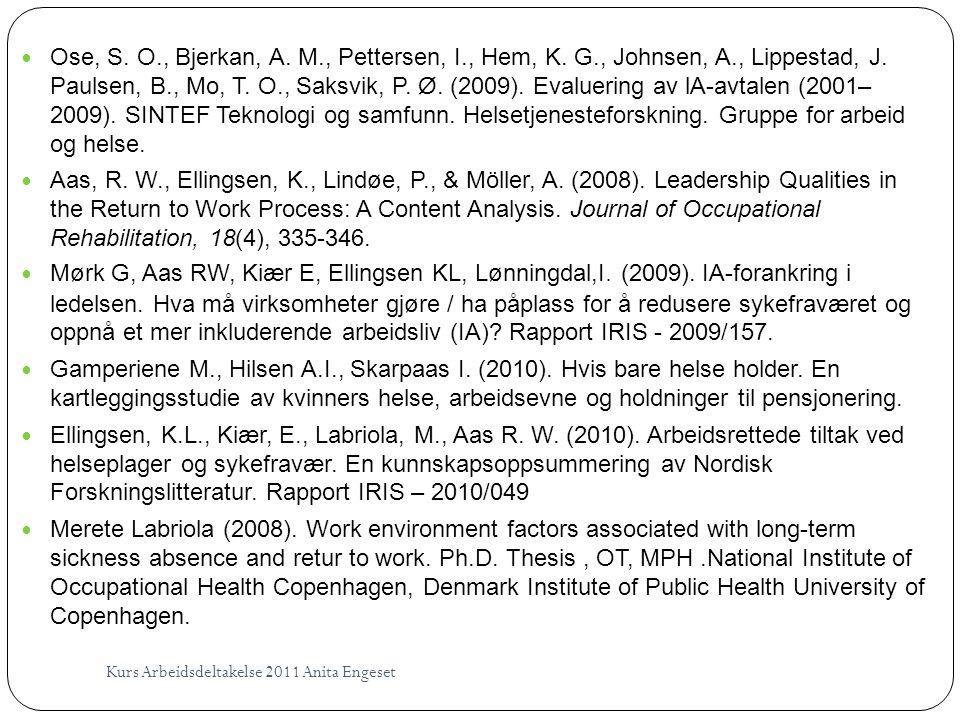 Kurs Arbeidsdeltakelse 2011 Anita Engeset  Ose, S. O., Bjerkan, A. M., Pettersen, I., Hem, K. G., Johnsen, A., Lippestad, J. Paulsen, B., Mo, T. O.,