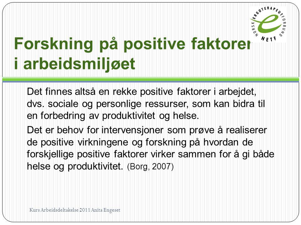 Forskning på positive faktorer i arbeidsmiljøet Det finnes altså en rekke positive faktorer i arbejdet, dvs. sociale og personlige ressurser, som kan