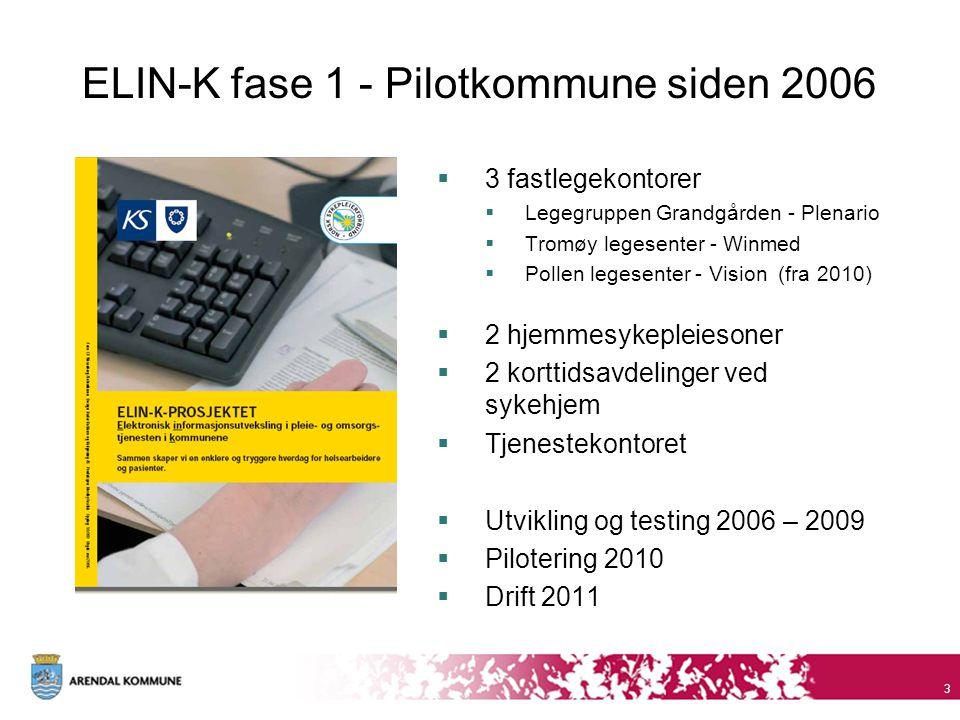 ELIN-K fase 1 - Pilotkommune siden 2006  3 fastlegekontorer  Legegruppen Grandgården - Plenario  Tromøy legesenter - Winmed  Pollen legesenter - V