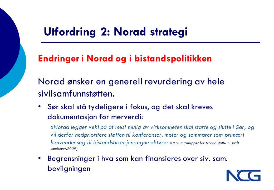 Utfordring 2: Norad strategi Endringer i Norad og i bistandspolitikken Norad ønsker en generell revurdering av hele sivilsamfunnstøtten. •Sør skal stå