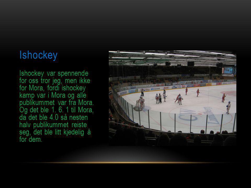 Ishockey Ishockey var spennende for oss tror jeg, men ikke for Mora, fordi ishockey kamp var i Mora og alle publikummet var fra Mora. Og det ble 1. 6.