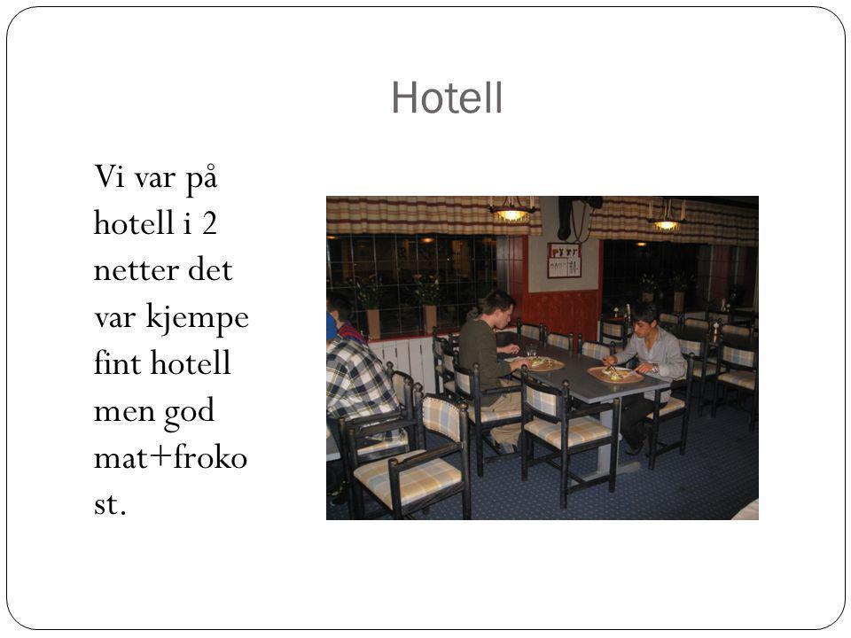 Hotell Vi var på hotell i 2 netter det var kjempe fint hotell men god mat+froko st.