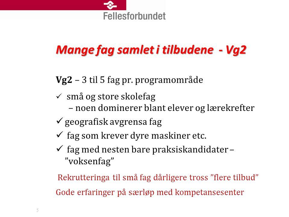 Mange fag samlet i tilbudene - Vg2 Vg2 – 3 til 5 fag pr.