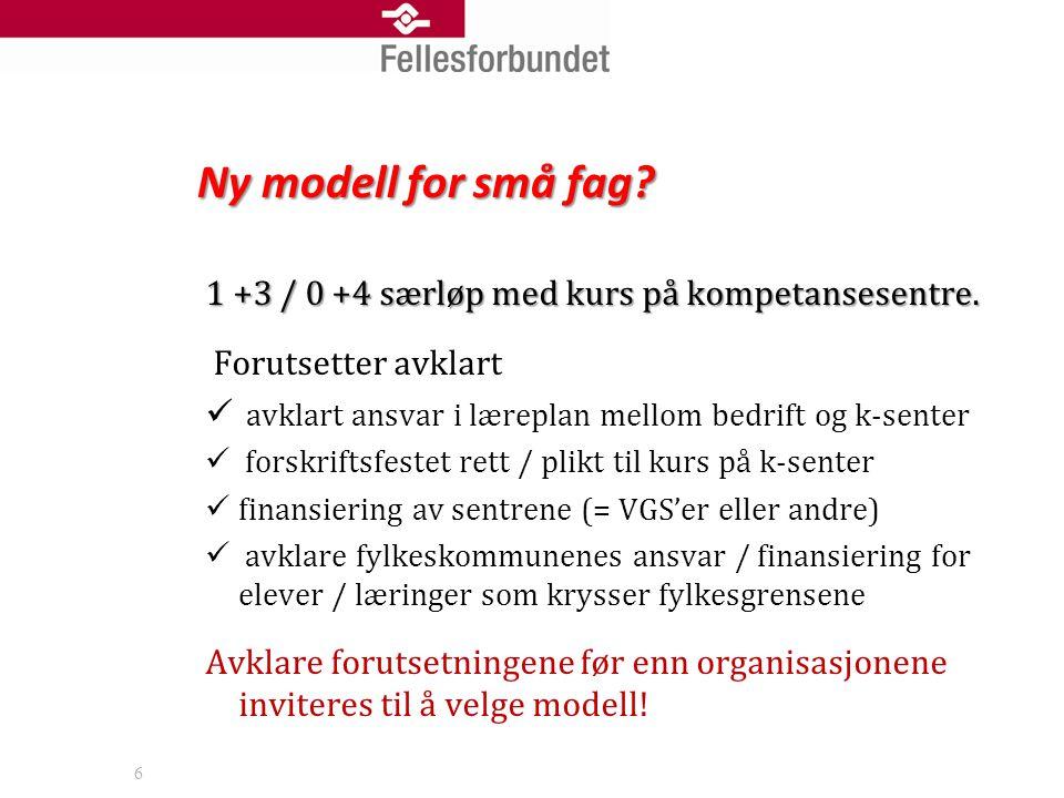 Ny modell for små fag. 1 +3 / 0 +4 særløp med kurs på kompetansesentre.