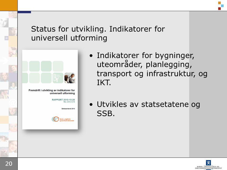 20 Status for utvikling. Indikatorer for universell utforming •Indikatorer for bygninger, uteområder, planlegging, transport og infrastruktur, og IKT.