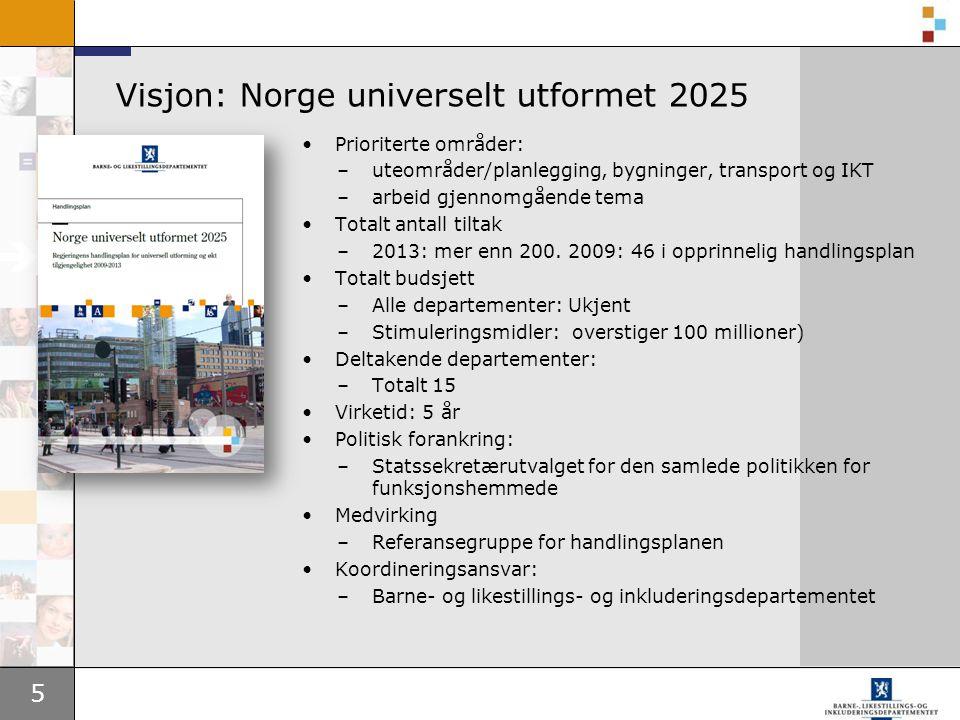 5 Visjon: Norge universelt utformet 2025 •Prioriterte områder: –uteområder/planlegging, bygninger, transport og IKT –arbeid gjennomgående tema •Totalt