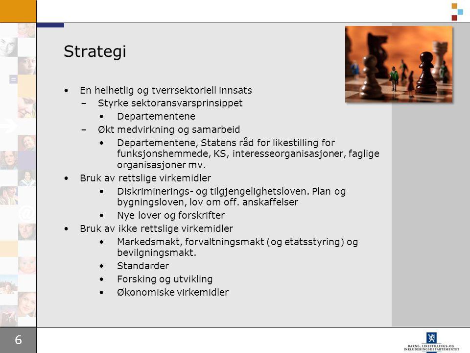 6 Strategi •En helhetlig og tverrsektoriell innsats –Styrke sektoransvarsprinsippet •Departementene –Økt medvirkning og samarbeid •Departementene, Sta