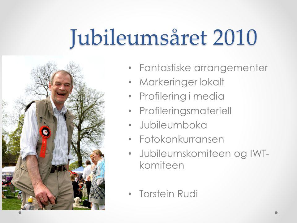 Jubileumsåret 2010 • Fantastiske arrangementer • Markeringer lokalt • Profilering i media • Profileringsmateriell • Jubileumboka • Fotokonkurransen • Jubileumskomiteen og IWT- komiteen • Torstein Rudi