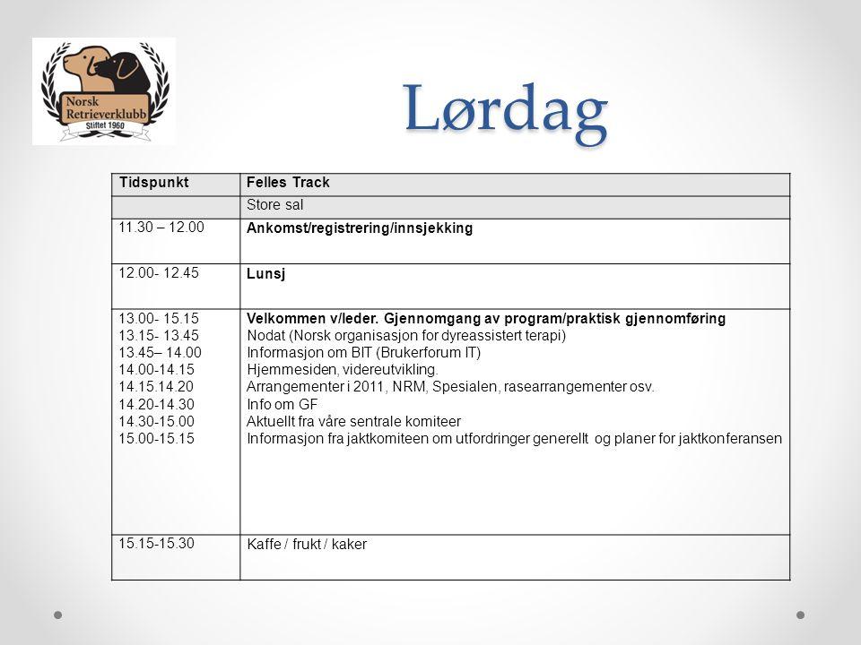 Lørdag TidspunktFelles Track Store sal 11.30 – 12.00Ankomst/registrering/innsjekking 12.00- 12.45Lunsj 13.00- 15.15 13.15- 13.45 13.45– 14.00 14.00-14.15 14.15.14.20 14.20-14.30 14.30-15.00 15.00-15.15 Velkommen v/leder.