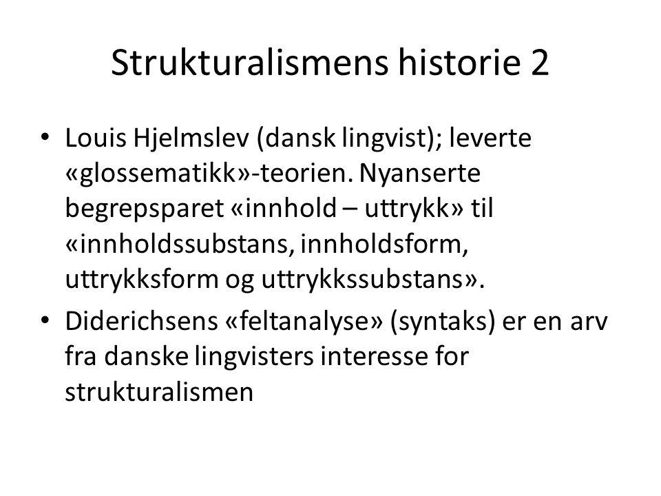 Noen strukturalistiske nøkkelbegreper • «Langue – parole»: språksystem og språkbruk – (hos Roland Barthes blir språkets «parole»-begrep videreført til litteraturens «écriture»-begrep) • Tegnets «arbitrære» natur • Begrepene «signe – signifiant – signifié» • Språksystemets «kombinasjonsakse» og «seleksjonsakse»; «den syntagmatiske aksen» og «den paradigmatiske aksen»