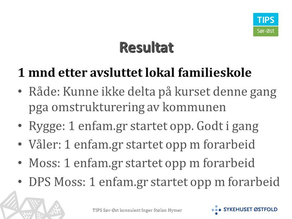 TIPS Sør-Øst konsulent Inger Stølan Hymer Resultat 1 mnd etter avsluttet lokal familieskole • Råde: Kunne ikke delta på kurset denne gang pga omstrukturering av kommunen • Rygge: 1 enfam.gr startet opp.