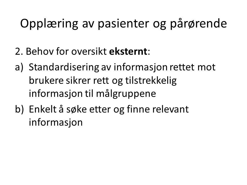 Opplæring av pasienter og pårørende 3.