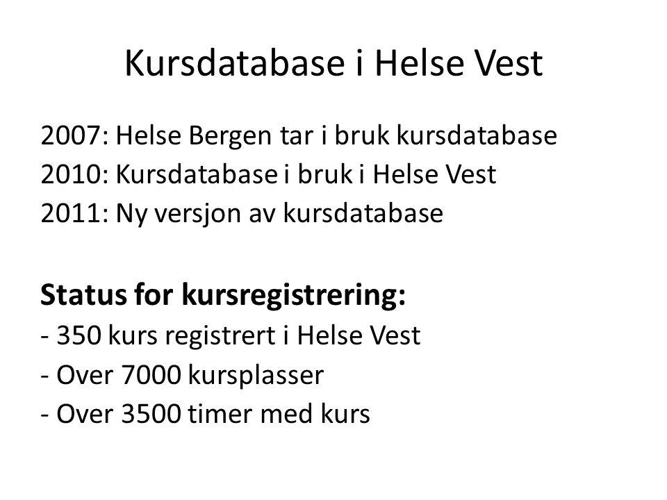 Kursdatabase i Helse Vest 2007: Helse Bergen tar i bruk kursdatabase 2010: Kursdatabase i bruk i Helse Vest 2011: Ny versjon av kursdatabase Status for kursregistrering: - 350 kurs registrert i Helse Vest - Over 7000 kursplasser - Over 3500 timer med kurs