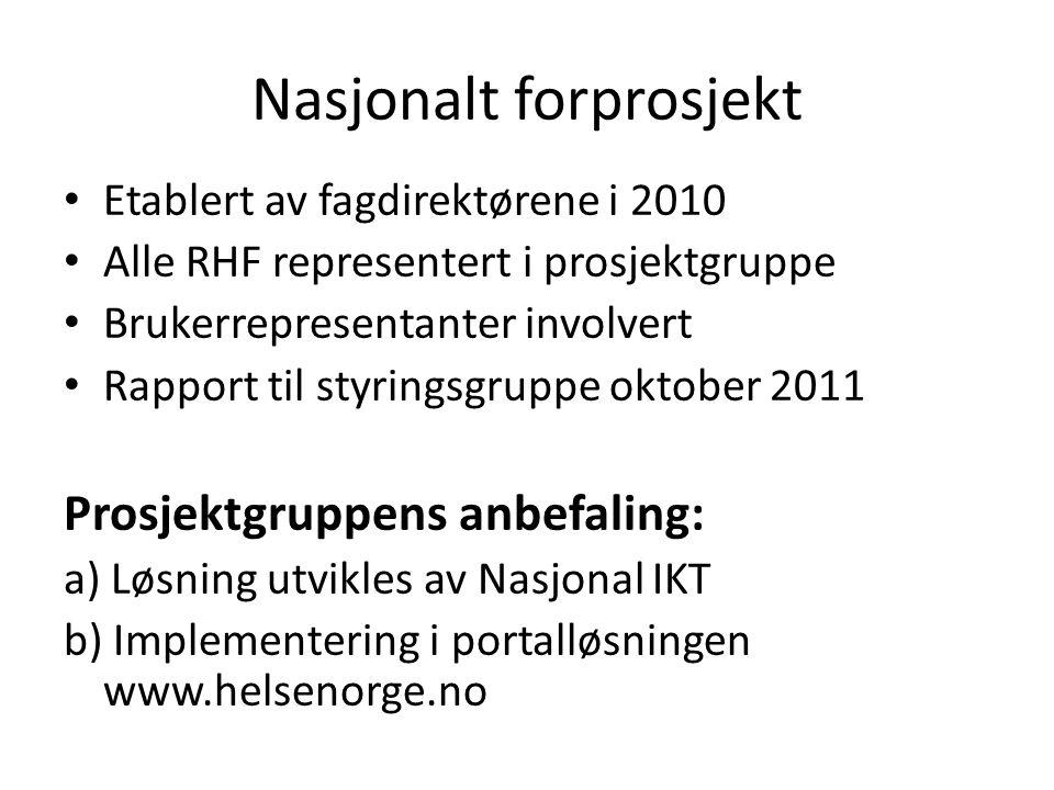 Nasjonalt forprosjekt • Etablert av fagdirektørene i 2010 • Alle RHF representert i prosjektgruppe • Brukerrepresentanter involvert • Rapport til styringsgruppe oktober 2011 Prosjektgruppens anbefaling: a) Løsning utvikles av Nasjonal IKT b) Implementering i portalløsningen www.helsenorge.no