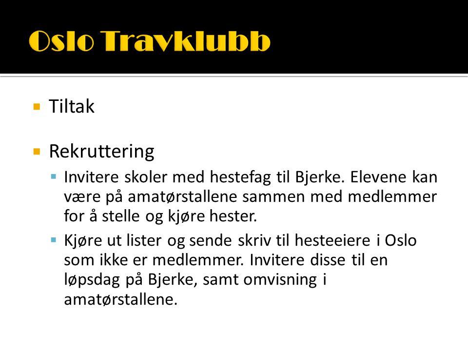  Tiltak  Rekruttering  Invitere skoler med hestefag til Bjerke.