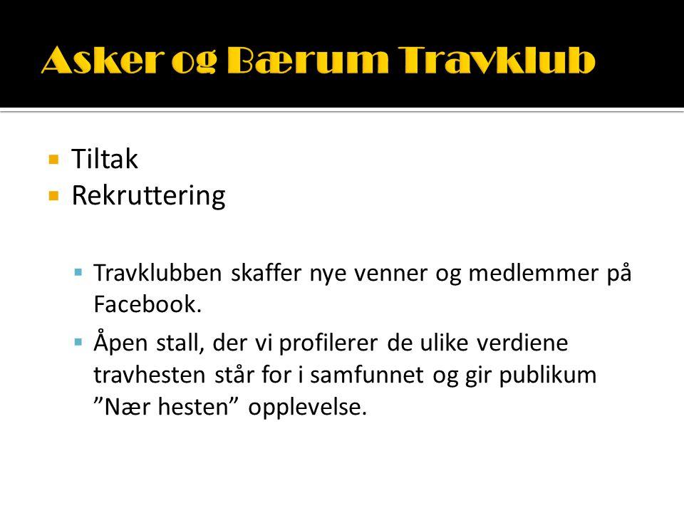  Tiltak  Rekruttering  Travklubben skaffer nye venner og medlemmer på Facebook.  Åpen stall, der vi profilerer de ulike verdiene travhesten står f