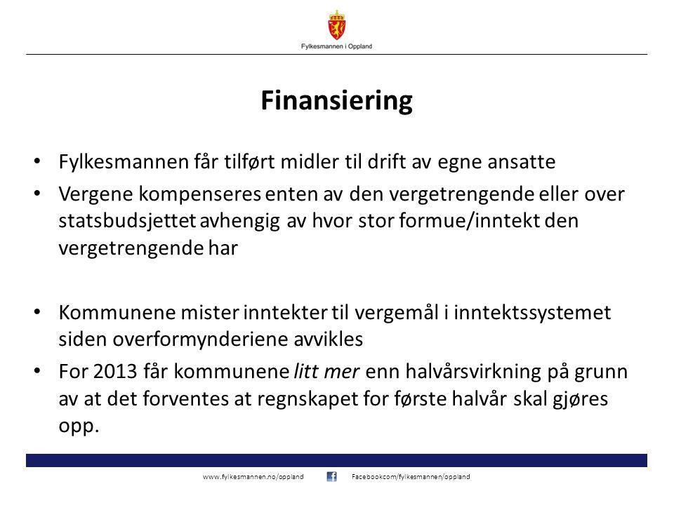 www.fylkesmannen.no/opplandFacebookcom/fylkesmannen/oppland Finansiering • Fylkesmannen får tilført midler til drift av egne ansatte • Vergene kompens