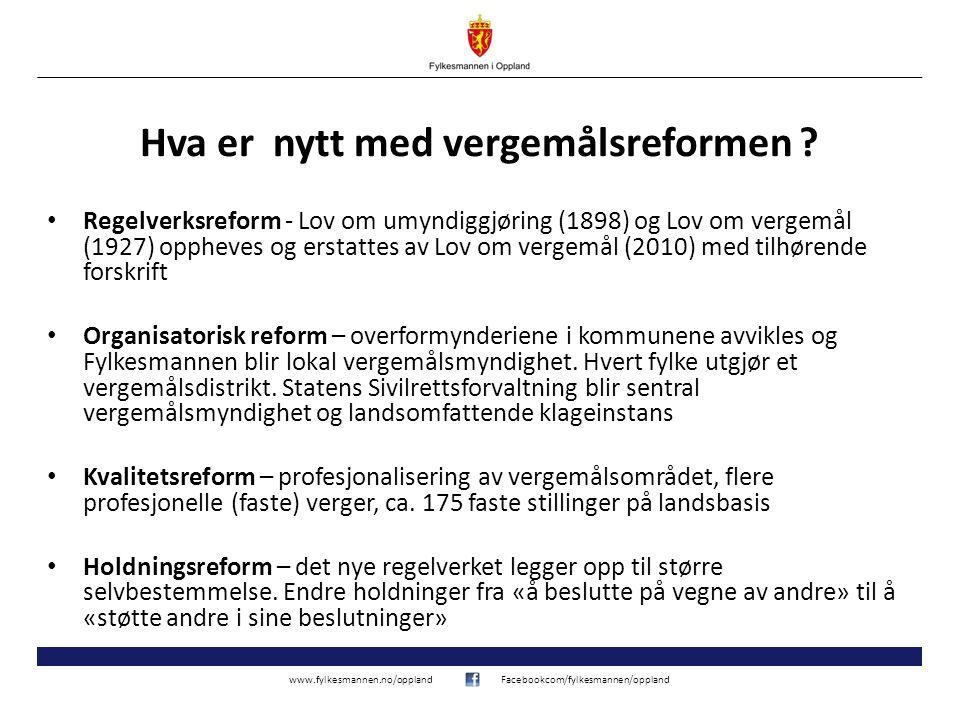 www.fylkesmannen.no/opplandFacebookcom/fylkesmannen/oppland Hva er nytt med vergemålsreformen ? • Regelverksreform - Lov om umyndiggjøring (1898) og L