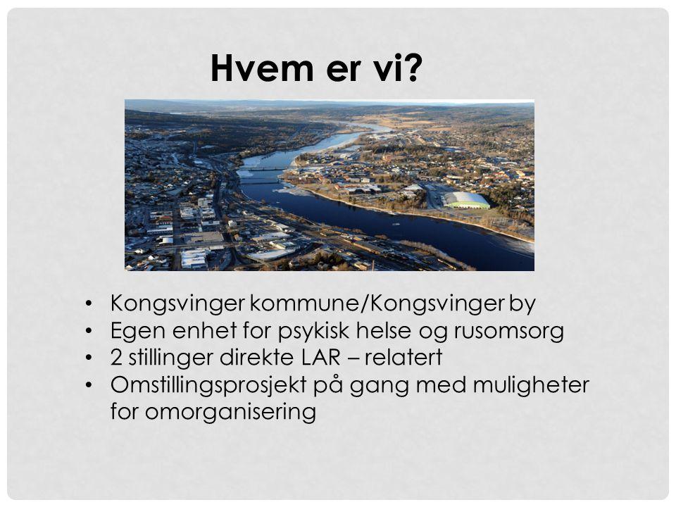 • Kongsvinger kommune/Kongsvinger by • Egen enhet for psykisk helse og rusomsorg • 2 stillinger direkte LAR – relatert • Omstillingsprosjekt på gang m