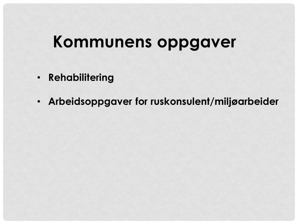 • Rehabilitering • Arbeidsoppgaver for ruskonsulent/miljøarbeider Kommunens oppgaver