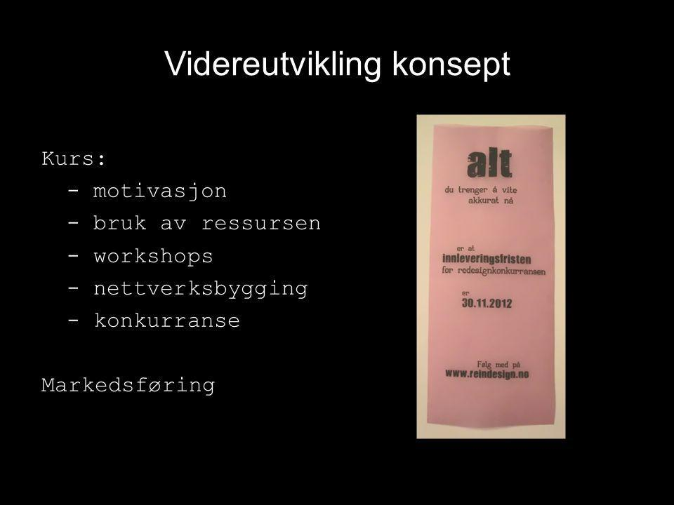 Videreutvikling konsept Kurs: - motivasjon - bruk av ressursen - workshops - nettverksbygging - konkurranse Markedsføring