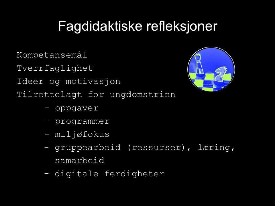 Fagdidaktiske refleksjoner Kompetansemål Tverrfaglighet Ideer og motivasjon Tilrettelagt for ungdomstrinn - oppgaver - programmer - miljøfokus - grupp