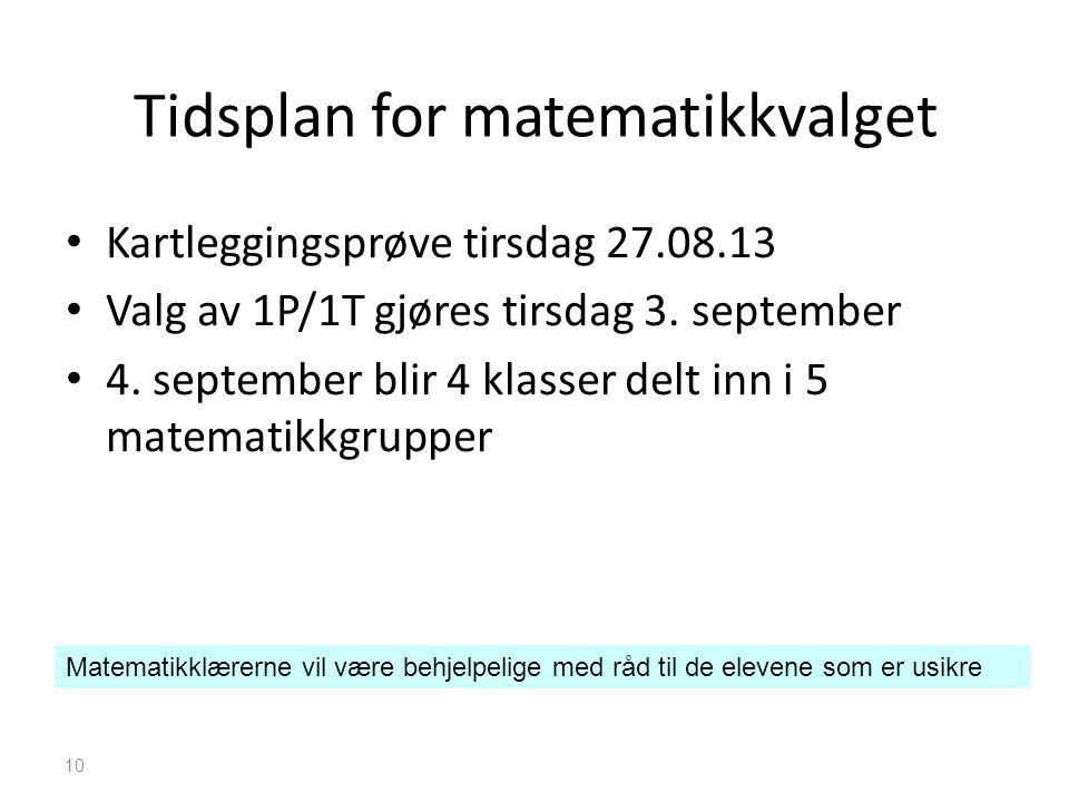 Tidsplan for matematikkvalget • Kartleggingsprøve tirsdag 27.08.13 • Valg av 1P/1T gjøres tirsdag 3. september • 4. september blir 4 klasser delt inn