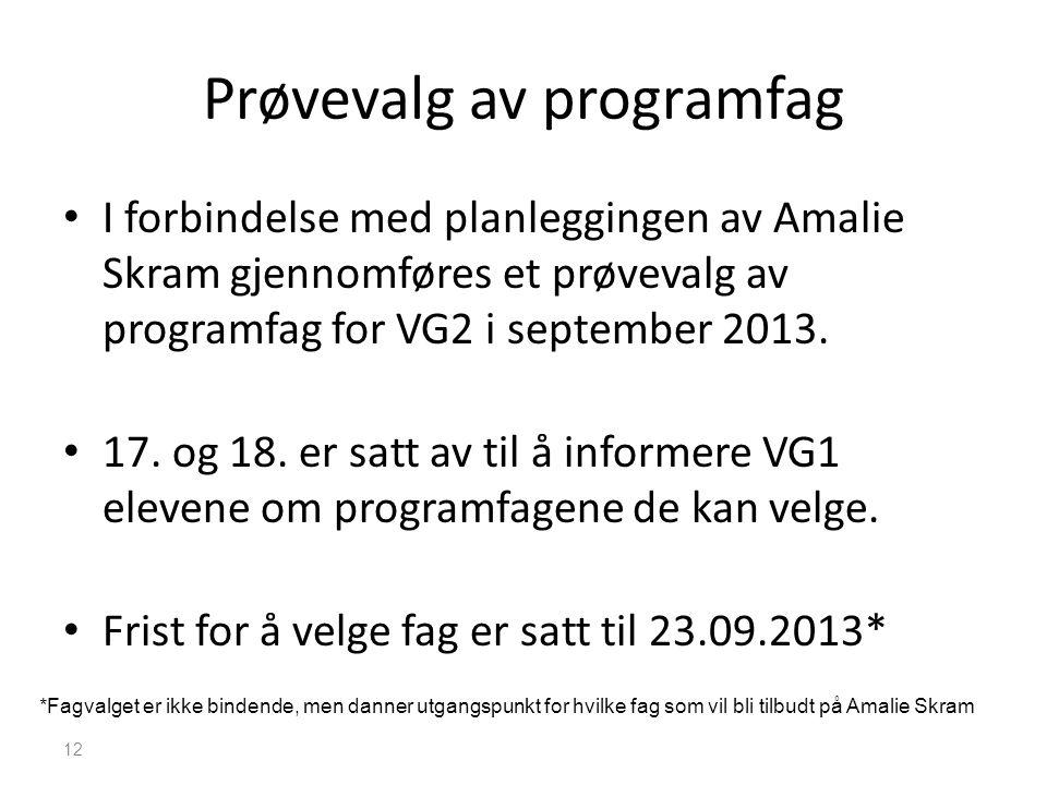 Prøvevalg av programfag • I forbindelse med planleggingen av Amalie Skram gjennomføres et prøvevalg av programfag for VG2 i september 2013. • 17. og 1