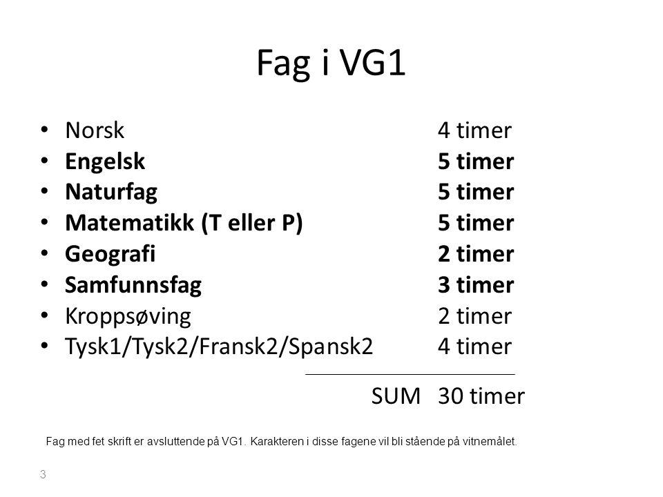 Fag i VG1 • Norsk 4 timer • Engelsk5 timer • Naturfag5 timer • Matematikk (T eller P)5 timer • Geografi2 timer • Samfunnsfag 3 timer • Kroppsøving2 ti