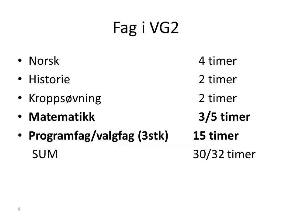 Fag i VG2 • Norsk 4 timer • Historie 2 timer • Kroppsøvning 2 timer • Matematikk 3/5 timer • Programfag/valgfag (3stk)15 timer SUM30/32 timer 4