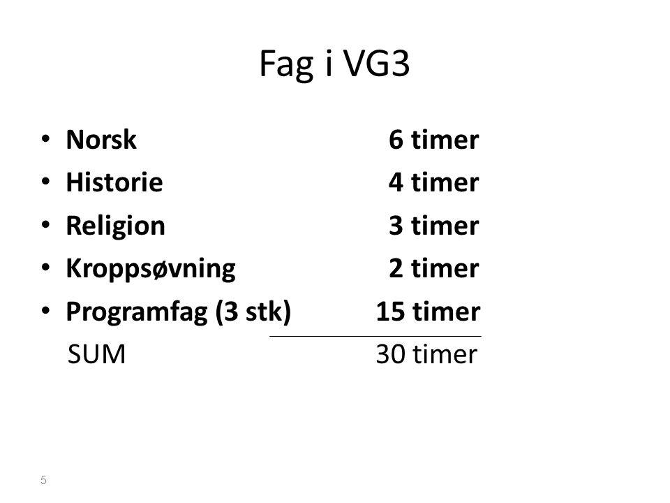 Fag i VG3 • Norsk 6 timer • Historie 4 timer • Religion 3 timer • Kroppsøvning 2 timer • Programfag (3 stk)15 timer SUM30 timer 5