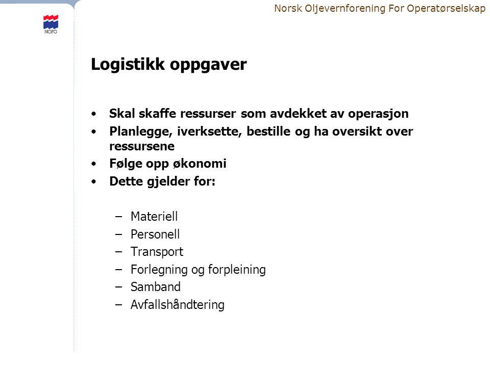 Norsk Oljevernforening For Operatørselskap Logistikk oppgaver •Skal skaffe ressurser som avdekket av operasjon •Planlegge, iverksette, bestille og ha