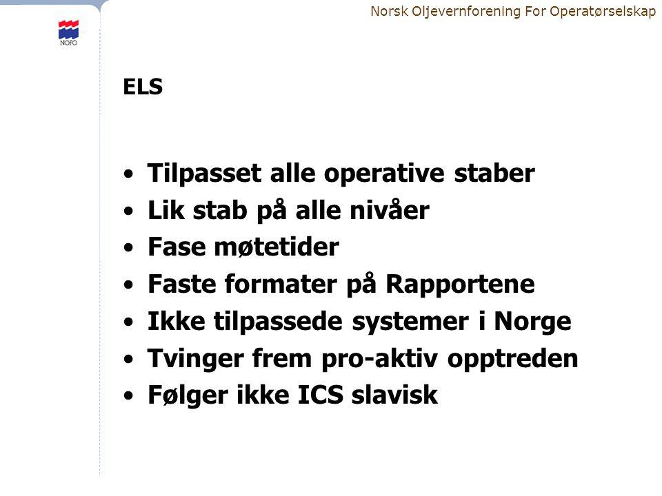 Norsk Oljevernforening For Operatørselskap ELS •Tilpasset alle operative staber •Lik stab på alle nivåer •Fase møtetider •Faste formater på Rapportene