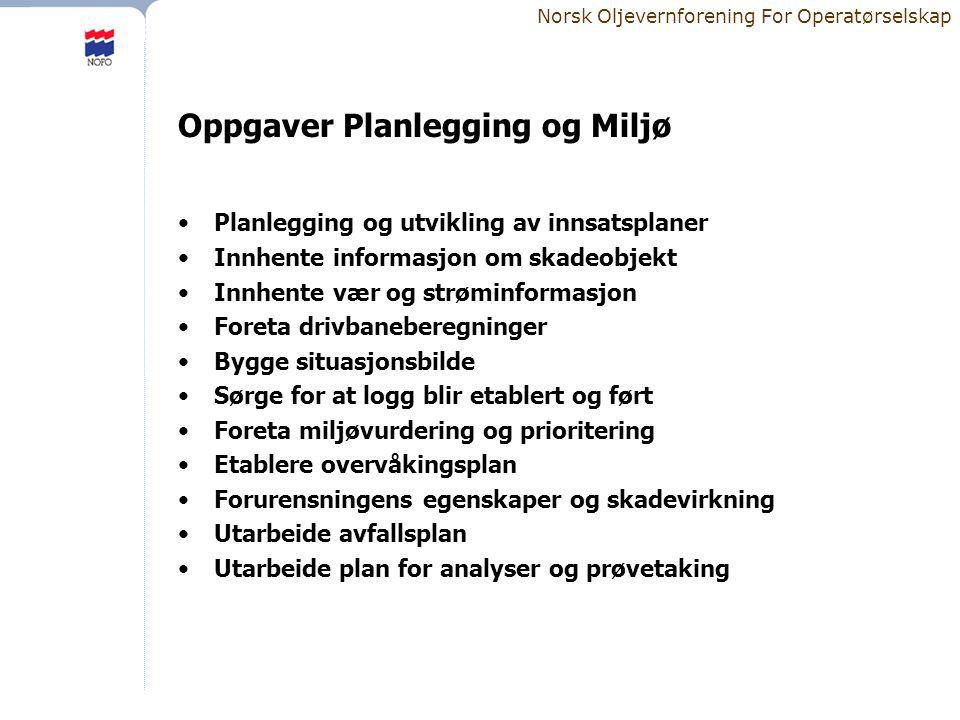 Norsk Oljevernforening For Operatørselskap Oppgaver Planlegging og Miljø •Planlegging og utvikling av innsatsplaner •Innhente informasjon om skadeobje