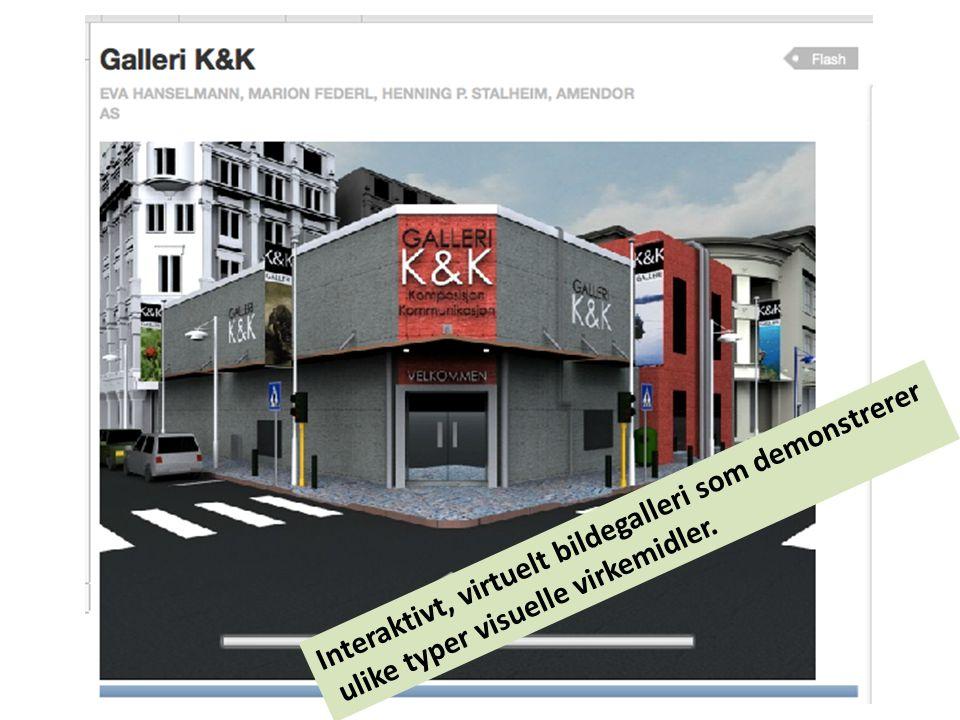 Interaktivt, virtuelt bildegalleri som demonstrerer ulike typer visuelle virkemidler.