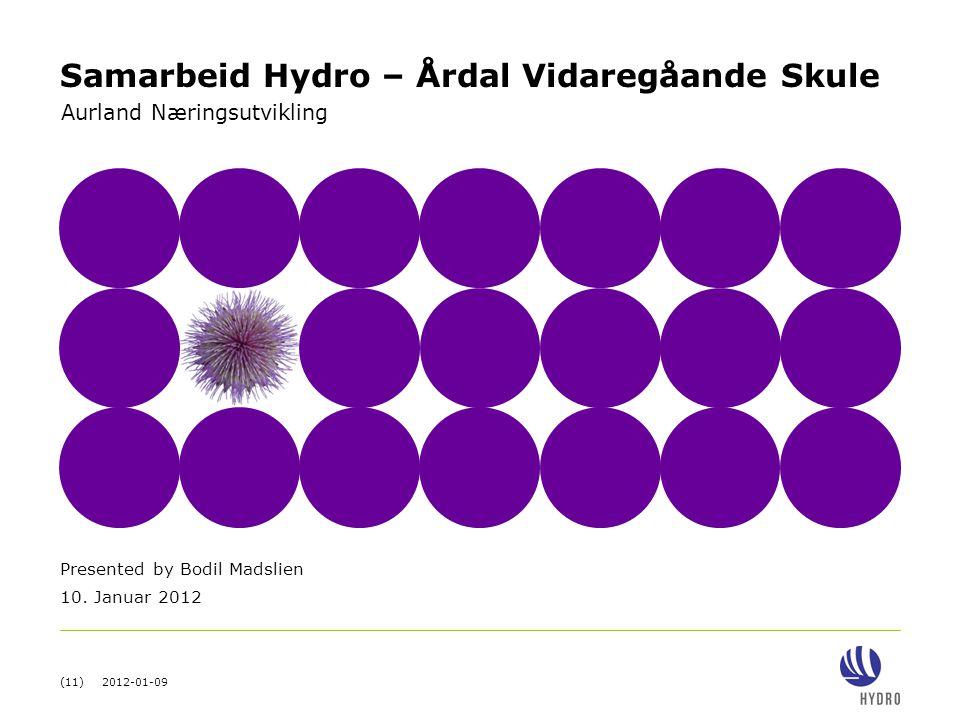 (11) 2012-01-09 Presented by Bodil Madslien 10. Januar 2012 Aurland Næringsutvikling Samarbeid Hydro – Årdal Vidaregåande Skule