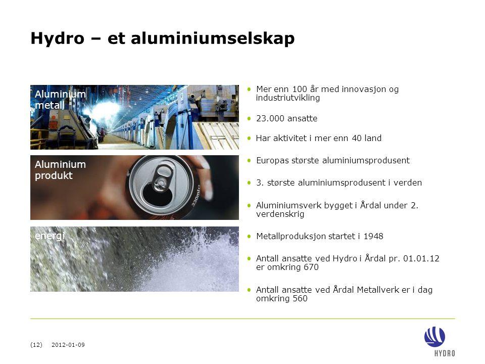(12) 2012-01-09 Hydro – et aluminiumselskap • Mer enn 100 år med innovasjon og industriutvikling • 23.000 ansatte • Har aktivitet i mer enn 40 land •