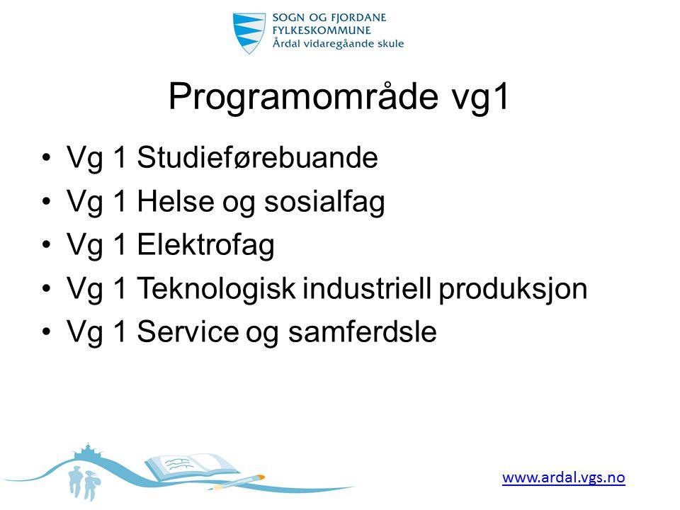 Programområde vg1 •Vg 1 Studieførebuande •Vg 1 Helse og sosialfag •Vg 1 Elektrofag •Vg 1 Teknologisk industriell produksjon •Vg 1 Service og samferdsl