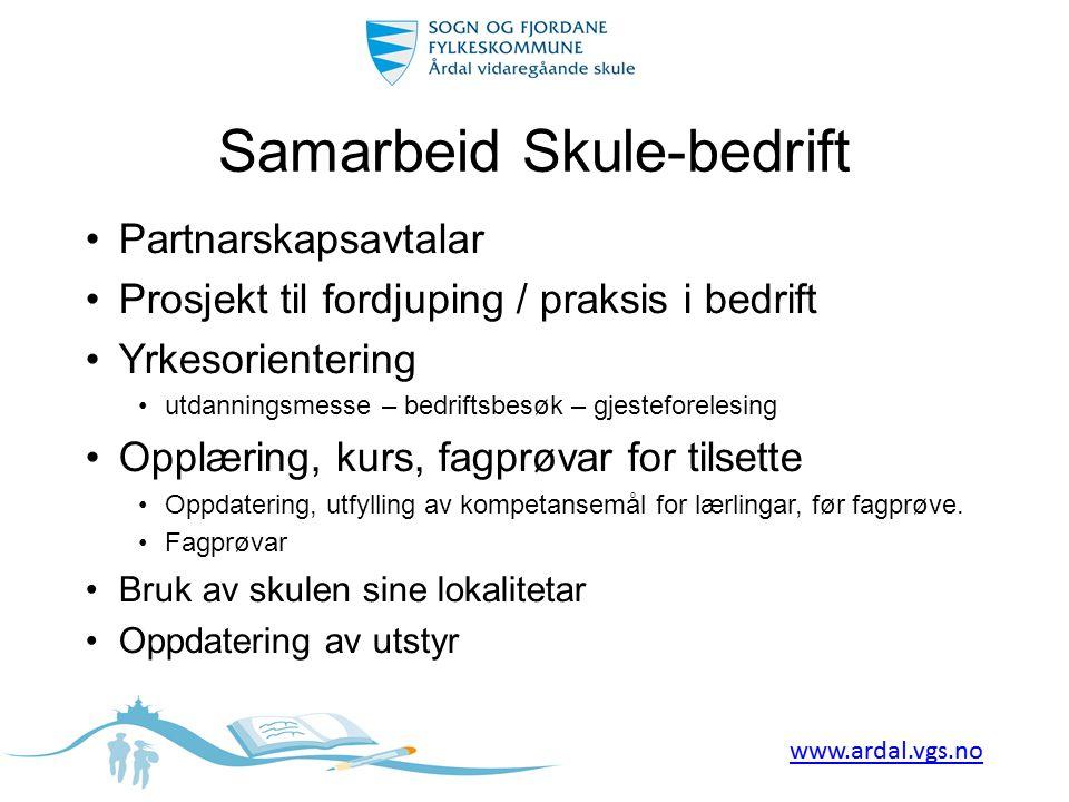Samarbeid Skule-bedrift •Partnarskapsavtalar •Prosjekt til fordjuping / praksis i bedrift •Yrkesorientering •utdanningsmesse – bedriftsbesøk – gjestef
